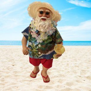 Hawaiian Santa at the Beach Figurine Margarita